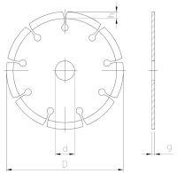 Pjovimo diskas deimantinis, segmentine briauna, sausam pjovimui